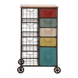 Spectrum Storage Cart - Bold shades give a touch of whimsy to this workhorse of a storage cart. The wheeled metal frame holds the five colorful drawers, plus four wire baskets for double-duty storage.