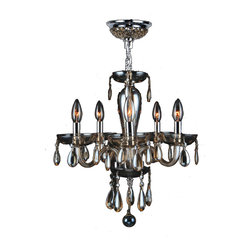 """Worldwide Lighting - Gatsby 5 Light Chrome Finish & Golden Teak Blown Glass Chandelier 16"""" x 18"""" Mini - This stunning 5-light Chandelier only uses the best quality material and workmanship ensuring a beautiful heirloom quality piece. Featuring a radiant chrome finish and blown glass in golden teak (translucent champagne color) finish, this elegant chandelier is a work of art in its quality and beauty. Worldwide Lighting Corporation is a privately owned manufacturer of high quality crystal chandeliers, pendants, surface mounts, sconces and custom decorative lighting products for the residential, hospitality and commercial building markets. Our high quality crystals meet all standards of perfection, possessing lead oxide of 30% that is above industry standards and can be seen in prestigious homes, hotels, restaurants, casinos, and churches across the country. Our mission is to enhance your lighting needs with exceptional quality fixtures at a reasonable price."""
