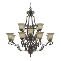 Golden Lighting - Bristol Place 13-Light Chandelier - Bulbs not included. Requires twelve 60 watt medium and one 7 watt candelabra incandescent Type A bulbs. Fleur de lille glass shade. Center font has easy to lift lid for simple bulb changing. Classic rectangular arms. Antique patina over silver carved details. Beautifully crafted glass center font. Used in foyer, living, dining and lobby. Brown wire gage. Thirteen E27 type porcelain sockets in white. Electric wire gage: SPT-1 18# 105 degree C. Maximum wattage: 60W and 7 W. Total wattage: 727W. UL and CUL certified. UL listed for dry location. Made from metal, glass and polyresin. New world medium bronze color. Chain length: 12 ft.. Wire length: 15 ft.. Backplate extension: 1.5 in.. Canopy back plate: 7 in. Dia.. Glass: 7 in. Dia. x 5.12 in. H. Overall: 46.5 in. W x 48 in. H (74.32 lbs.). Assembly Instructions. Warranty