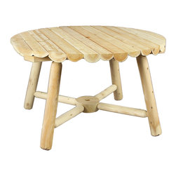 """Rustic Natural Cedar - Rustic Natural Cedar 020013A Round Table 4' w/ Umbrella Hole - This cozy round table is perfect for dining al fresco with a small circle of friends or family. A 3"""" hole in the center of the tabletop and the table base allows for an umbrella. Solid cedar construction ensures years of carefree use. Cedar is also naturally resistant to decay, insect, and weather damage and, when left untreated, the creamy natural color weathers gracefully to a silvery grey."""