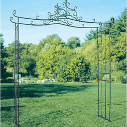 Chippendale Wrought Iron Arbor - This arbor is perfectly suited for formal gardens. It has an intricate set of finials that will poke up even when covered in vines. A perfect focal point.