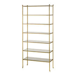 Kathy Kuo Home - Classic Hollywood Regency Gold Leaf Tall Etagere Display Shelf - Gold is always a great investment, especially when it is a generously sized gold leaf shelf unit.  Whether your tastes are Mid Century or Hollywood Regency or even art deco, any modernist with a dedication to elegance will easily find a place  in their home for this beauty.