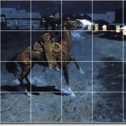 Picture-Tiles, LLC - An Arguement With The Town Marshall Tile Mural By Frederic Remington - * MURAL SIZE: 32x48 inch tile mural using (24) 8x8 ceramic tiles-satin finish.