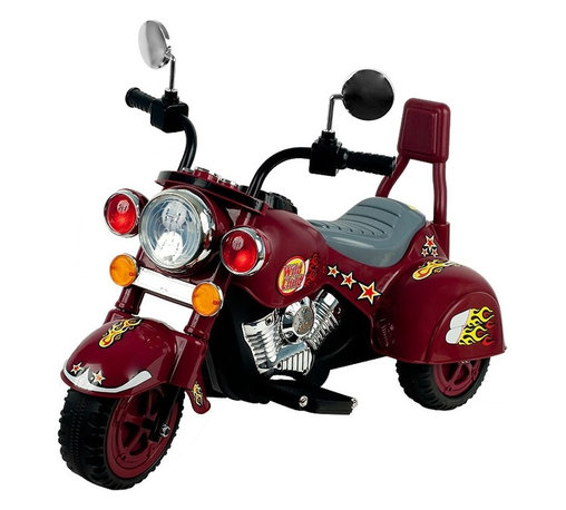 Lil Rider - Lil' Rider Battery Powered Motorcycle Three W - Easy to put together . Light and Sound Effects (English & Chinese). Light and Sound Effects Requires 2 AA Batteries (Not Included). Forward and Reverse. Comes with battery and charger. Sharp Colorful Decorations . Chrome colored highlights. Battery: 6V 4AH . Speed: 1.5 MPH . Ages: 3-7 years. Dimensions: 37 in. L x 17.5 in. W x 26.75 in. HWith its ultimate Motorcycle like style, chrome color highlights and V-Twin styling, kids can experience the excitement of Motorcycle riding in their own driveway with this Battery Operated Lil' Rider Marauder Motorcycle! Give your kid the chance to be like Dad, also to be the envy of every kid on the block. It will bring excitement to every kids play time, while taking kids on a thrilling adventure! It has buttons for sound effects and a headlight that lights up! Also goes in reverse.