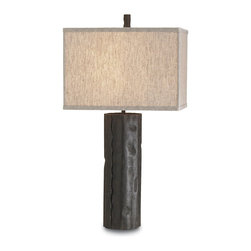 Currey & Company - Currey & Company Caravan Table Lamp CC-6868 - Wrought iron sheets are used to create a natural tree trunk look. The shade is natural linen.