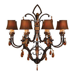 Fine Art Lamps - Brighton Pavillion Chandelier, 304040ST - Dark and dramatic in bronzed wrought iron with pleated amber shades that dim the light to a low flame, this chandelier is sure to lend the room an exotic mood. Gilded leaves and sparkling amber crystals help pick up the light and add a touch of opulence.
