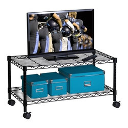 Media Cart - Honey-Can-Do CRT-03937 2-Tier Steel Wire Cart, Black.  This steel rolling shelving unit is great for organizing the living room, dorm, or garage.  Each sturdy steel shelf can be adjusted to the perfect height for your use. Whether it's holding electronics, clothing, tools, or toys, this unit can do it all. Includes two locking casters.