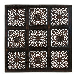 Benzara - Classy Wooden Wall Panel with Abstract Design and Rustic Finish - Add a rustic look and feel to your home or office with this wooden wall panel. The panel showcases the fine attention to detail by Indiana artisans while adding extravagance and style to your decor. Abstract designs in the centre and 9 squares on the panel can surely accentuate any wall it is placed against - be it a light colored one or a decorated wall. The versatility of the wooden panel allows you to use it in the office and its contemporary design allows it to fit right in into a corporate environment. Wood used in the manufacture ensures it long lasting performance, making the wooden wall panel an excellent addition to your home of office decor. It comes with a dimension of 36 in.  W x 36 in.  W x 1 in.  D.