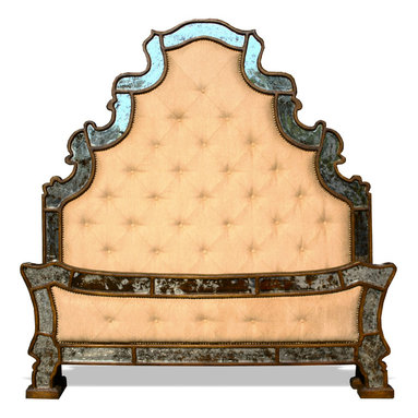 French Country Bedroom Ideas - LOVE THIS BED!! This Mirror Bed is an extravagant and unique new furniture piece from The Koenig Collection. This wooden bed set features a beautiful tufted with nail head trim design that is then outlined with a curvilinear wooden frame with mirror inlay.