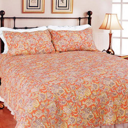 None - Lara Spice Paisley 3-piece Quilt Set - The bright colors in this paisley quilt set make a fun addition to the bedroom. The paisley print has a traditional look, while bold colors brighten it up, making it perfect for a guest room. Make this quilt the focal point of your bedroom.