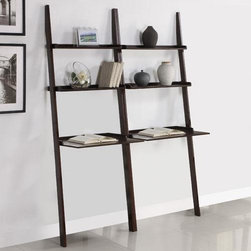 None - Walnut 2-piece Leaning Laptop Shelf - This decorative leaning shelf uses the force of gravity to give you a space to put decorative items. It is light enough to be moved and repositioned easily. The slant allows for easier access to the lower tiers without tight spaces overhead.