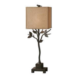 Uttermost - Arbre Metal Buffet Lamp - Hand forged metal finished in a dark rustic bronze. The rectangle shade is a rust beige linen fabric.