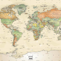 "World Political Map Wall Decal - Antique Oceans -53"" x 36"" - This stylish interior decor wall map utilizes an 'antique oceans' color scheme, incorporating shades of light tan and parchment for the ocean colors. Individual countries are illustrated in contrasting colors using a soft earthy color palate. A multitude of place name labels are featured on the map including: country names, major cities, national capitals, rivers, lakes, mountain peaks/ranges, and latitude/longitude lines. The combination of antique ocean colors, softly shaded countries, and rich earthy color tones all lend an old world appearance to this decorative wall mural. An ideal map to hang in a home library, study, executive office, or lobby. A Miller Projection is used for this map. The map is up-to-date with all the latest international name changes up to 2012. We offer this map in an easy to install peel and stick fabric. The self-adhesive peel and stick fabric is resistant to water, wrinkles, bubbling and tears. Unlike traditional wallpaper murals, this fabric goes up without causing any damage to the wall and will leave no residue. Since the fabric is repositionable you can simply peel it off and transfer it to another location, making it a great reusable wall decal."