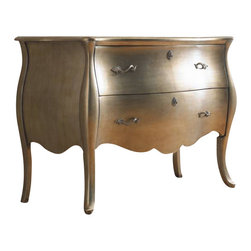 Hooker Furniture - Metallic Bombe Chest - You're going to feel sorry for whatever decorative item ends on top of this adorable chest. Nothing can compete with the reflective sheen and playful, plump curves of this perfect accent piece. Show it off in your entryway, dressing room or in your bedroom as a bedside table. And in that case, buy two.