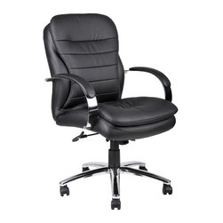 BOSS Chair - Mid Back Caressoft Plus Executive Chair w Kne - Navigate through your busiest workdays with ease. Good looking, affordable office chair has mid back design, padded seat & back and black Caressoft upholstery. Super stable nylon base features 5 dual wheel casters. Customized comfort comes courtesy of abundant, easy to use controls. Unique design with an extra layer of foam for incredible comfort. Beautifully upholstered with ultra soft, durable and breathable Cares soft Plus . Metal chrome plated arms topped with soft arm pads. 2-paddle spring tilt mechanism, which can be locked in any position throughout the tilt range. Arm Height: 28 - 32 in. H. Seat Size: 20 in. W x 19.5 in. D. Seat Height: 21 - 24.5 in. H. Overall Size: 25 in. W x 30 in. D x 41.5 - 45 in. H