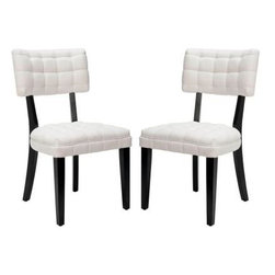 Safavieh - Merryl Linen and Cotton Dining Chair in Off-White (Set of 2) - This familiar dining shape gets new life in a contemporary pairing of off white fabric and dark java finished legs. A quilt-like effect on the back rest and curved rear legs keep Merryl from being a plain Jane.
