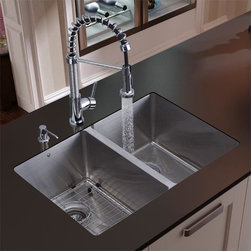 Vigo - Vigo Undermount Stainless Steel Kitchen Sink,Faucet,Grid and Dispenser - This Vigo sink is manufactured with 16-gauge premium 304 Series stainless steel construction. The sink is fully undercoated and padded with a unique multi-layer,sound-eliminating technology,which also prevents condensation.