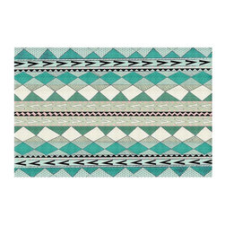 DiaNoche Designs - Area Rug by Nika Martinez - Mint Native Forest - Finish off your bedroom or living space with a woven Area Rug with Chevron pattern  from DiaNoche Designs. The last true accent in your home decor that really ties the room together. Maybe its a subtle rug for your entry way, or a conversation piece in your living area, your floor art will continue to dazzle for many years. 1/4 thick. Each rug is machine loomed, washed and pre-shrunk, printed, then hemmed on the edges.   Spot treat with warm water or professionally clean. Dye Sublimation printing adheres the ink to the material for long life and durability
