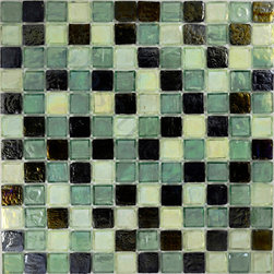"Glass Tile Oasis - Celedon Pewter 1"" x 1"" Green 1"" x 1"" Iridescent Glossy and Iridescent Glass - Sheet size: 12"" x 12"""