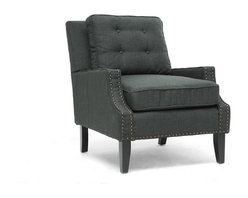 Baxton Studio - Baxton Studio Norwich Dark Gray Linen Modern Lounge Chair - Mid-century form, modern angles, and traditional linen merge into a single statement piece for your modern living room furniture collection or entryway.  Our Norwich Modern Club Chair is comprised of a wooden frame with comfortable foam cushioning, all of which is finished with dark charcoal gray linen blend upholstery.  Finishing touches include bronze nail head trim and black wood legs with non-marking feet.  This Chinese-built beauty also features removable seat cushions and requires minor assembly.  To keep the linen lookin'rous, we urge you,spot clean.  The Norwich chair's available in beige linen (sold separately).Dimension: 29.25 inches wide x 35 inches deep x 35 inches high