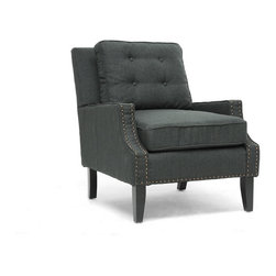 Baxton Studio - Baxton Studio Norwich Dark Gray Linen Modern Lounge Chair - Mid-century form, modern angles, and traditional linen merge into a single statement piece for your modern living room furniture collection or entryway.  Our Norwich Modern Club Chair is comprised of a wooden frame with comfortable foam cushioning, all of which is finished with dark charcoal gray linen blend upholstery.  Finishing touches include bronze nail head trim and black wood legs with non-marking feet.  This Chinese-built beauty also features removable seat cushions and requires minor assembly.  To keep the linen looking lustrous, we urge you to spot clean.  The Norwich Chair is also available in beige linen (sold separately).Dimension: 29.25 inches wide x 35 inches deep x 35 inches high