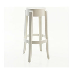 Kartell - Charles Ghost Stool, Set of 2, 30 in., Matte Glossy White - Add a dash of lighthearted sophistication to your bar, game room or kitchen with this distinctive stool. Its shape and gently flared legs evoke classic 19th-century design, but its glossy, batch-dyed polycarbonate fabrication makes it the cool stool for modern-day life. Lightweight and highly durable, it's also a great option for outdoor use.