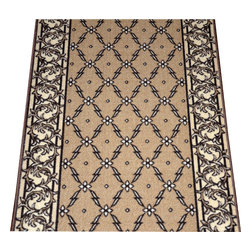 """Dean Flooring Company - Dean Washable Carpet Rug Runner - Trellis Beige - Purchase By the Linear Foot - Dean Washable Carpet Rug Runner - Trellis Beige - Purchase By the Linear Foot : This runner is sold here by the linear foot. One unit of quantity equals one foot of length on your runner. Width - Approximately 25"""". These beautiful carpet runners match our Dean Flooring Company stair treads. This item will be finished (serged with color matching yarn) on all four sides regardless of the length. It is made from nylon with a washable non-skid rubber back."""
