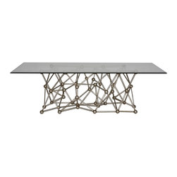 "Worlds Away - Worlds Away Silver Leaf Iron Coffee Table MOLECULE CFS60 - Silver leaf iron coffee table with rectangular 36"" x 60"" glass top."