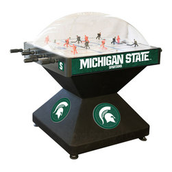 Holland Bar Stool - Holland Bar Stool DHMichSt Michigan State Dome Hockey - DHMichSt Michigan State Dome Hockey belongs to College Collection by Holland Bar Stool Holland Bar Stool's Officially Licensed Dome Hockey game provides hours of entertainment for the hockey fan of any level. Game is badged with your favorite team's logo on the base, sides, and at center ice. Our high-performance rod assembly underneath the surface transfers your twisting motion with a 2:1 ratio onto your players for the most responsive game play, and the clutch system prevents damage to the players when battling the opposition. TPR octagonal, sure-grip handles are attached to high-tensile steel rods that are ground and plated, maneuvering ABS players who are steel re-enforced to provide you with a long lasting game. Side mounted scoring unit provides a variety of game modes, Base includes adjustable levelers. When completing your game room, show your team pride with a Dome Hockey table from the Holland Bar Stool Company. Dome Hockey (1)