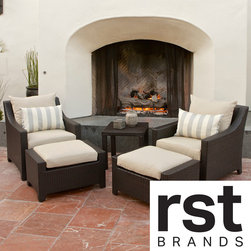 RST Brands - RST Slate 5-piece Club Chairs and Ottomans Patio Furniture Set - Share a moment with a friend or family in our deep seating club chairs,with ottomans for extra lounging comfort,while books,drinks or d�cor can be easily stored on the side table.
