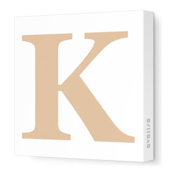 """Avalisa - Letter - Upper Case 'K' Stretched Wall Art, 18"""" x 18"""", Light Brown - Spell it out loud. These uppercase letters on stretched canvas would look wonderful in a nursery touting your little one's name, but don't stop there; they could work most anywhere in the home you'd like to add some playful text to the walls. Mix and match colors for a truly fun feel or stick to one color for a more uniform look."""