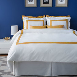 Bedding - LaCozi's boutique hotel collection is ideal for both resorts and private residences. The duvet cover sets come in a variety of colors on white with stitched borders. All sets are 1100 thread count and made out of 100% cotton sateen. With intricate detail, each set is hand sewn and cut to a custom size.  Each set includes a duvet cover and 2 sham covers.