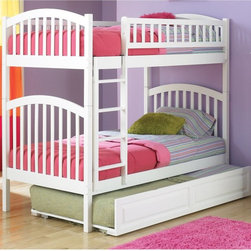 Atlantic Furniture - Richmond Twin over Twin Bunk Bed - ATF209 - Shop for Bunk Beds from Hayneedle.com! Constructed from durable rubberwood and boasting a classic arch design the Richmond Twin over Twin Bunk Bed will withstand the test of time. Square posts and slats perfectly accentuate elegant arches to create a solid Roman-inspired look. Choose from several finishes to coordinate with your kids' room decor. The wooden ladder clips on securely to guide your child safely to the top bunk. As versatile as it is stylish this bunk bed can also be separated into two twin beds to fit the needs of your family. If you need more sleeping space the optional trundle bed will quickly and efficiently accommodate another sibling or a sleepover guest. To increase storage without sacrificing floor space add the two under-bed drawers to your order. They roll out smoothly and tuck all sorts of items neatly out of sight. About Atlantic FurnitureFounded in 1983 as Watercraft Inc. Atlantic Furniture started as a manufacturer of pine waterbed frames. Since then the Springfield Mass.-based company has expanded to Fontana Calif. The company has moved away from the use of pine and now specializes in imported furniture made of the wood of rubber trees. The Benefits of Eco-Friendly RubberwoodPrized as an environmentally friendly wood rubberwood makes use of trees that have been cut down at the end of their latex-producing life cycle. Originally native to Thailand the trees are removed by hand and replaced with new seedlings. In the past felled rubber trees were either burned on the spot or used as fuel for locomotive engines brick firing or latex curing. Now the wood is used in the manufacture of high-end furniture. It is valued for its dense grain stability attractive color and acceptance of different finishes. Atlantic's Unique Five-Step Finishing ProcessEach product in the entire line is finished with a high-build five-step finishing process. After a thorough sanding a wipe-on sealer is a