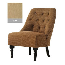 Home Decorators Collection - Vincent Tufted Slipper Chair - Enjoy sophisticated seating that will complement your home furnishings with the Vincent Tufted Slipper Chair. The tufts give the slipper chair an elegant look while the birch legs add class to any room. Birch legs in espresso finish. Plush microfiber with velvet.
