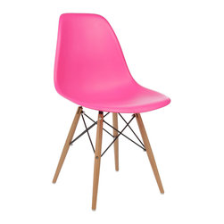 Ariel - Molded Plastic Dining Shell Chair, Pink - A truly comfortable chair, the shell dining chair sports a futuristic yet retro look at the same time. Constructed of heavy duty matte finish seats, this stylish chair is perfect for the home office, training room, or play area. Also available in multiple colors.