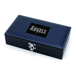 """Picnic Time - Los Angeles Angels Syrah Five-Piece Box Set Of Wine Accessories in Black - The Syrah is a five-piece box set of wine accessories that is a welcome addition to anyone's wine bar. It includes 1 stainless steel waiter-style corkscrew, 1 drip ring, 1 wine thermometer, 1 foil cutter, and 1 pourer/bottle stopper. The box measures 8-3/4"""" x 4-29/32"""" x 2-1/8"""" and is made of black premium leatherette with white accent stitching. The Syrah makes a thoughtful gift for your wine-loving friends.; Decoration: Laser Engraved; Includes: 1 stainless steel waiter-style corkscrew, 1 drip ring, 1 wine thermometer, 1 foil cutter, and 1 pourer/bottle stopper"""