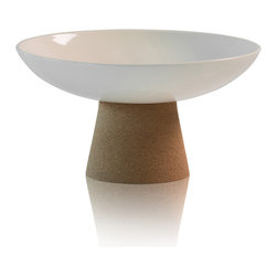 ACDC - Soul Mate High Pedestal Bowl - Sustainable cork and earthenware ceramic support each other in this design fusion. The conical pedestal cradles a handsome bowl and may be stacked to form a two-tiered centerpiece.