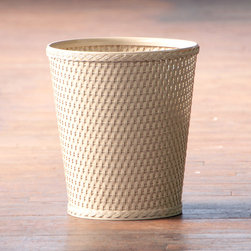 None - Carter Linen Round Wastebasket - The simple clean lines of this white wastebasket go with any décor. Easy to clean with a damp cloth, the basket matches a hamper of the same material and color.
