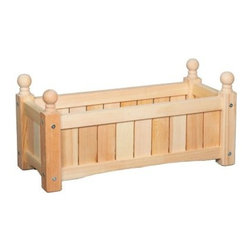24-Inch Rectangle Solid Wood Lexington Planter Box - Hold up to three 6-inch grow pots in the 24 Inch Solid Wood Lexington Rectangular Planter Box. With classic slatted sides and a slatted bottom for proper drainage, this box will look great anywhere. The upright finials on each corner demonstrate quality craftsmanship as they are turned on a lathe from one solid piece of wood. All pieces are sanded to a smooth finish and painted in your choice of UV-rated exterior paints. Plastic feet under each leg prevents moisture absorption. Each planter is assembled with color-matched offset bolts.A durable plastic liner for direct planting will ship separately. This liner does not have pre-drilled drainage holes so that water doesn't leak where it's not supposed to. If drainage holes are desired, simply puncture several holes in the bottom of the liner.SIZE DIMENSIONSDimensions: 24L x 9W x 9H inchesHolds 3 - 6 in. grow potsWeight: 9 lbs.About DMC ProductsDMC Products has developed a reputation as one of the leading manufacturers of unique products for the home and garden. They are committed to designing and producing great looking products with undeniable consumer value. They are constantly working on new and innovative products to enhance your home or business. DMC products cares about your health and the environment. They are proud to say that they do not use lead-based paints or finishes on any of their products.Please note this product does not ship to Pennsylvania.