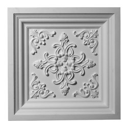 "Ekena Millwork - 24""W x 24""H Kinsley Ceiling Tile - 24""W x 24""H Kinsley Ceiling Tile. Our ceiling medallion collections are modeled after original historical patterns and designs. Our artisans then hand carve an original piece. Being hand carved each piece is richly detailed with deep relief, sharp lines and a truly unique touch. That master piece is then used to create a mould master. Once the mould master is created we use our high density urethane foam to form each medallion. The finished look is a beautifully detailed, light weight, solid construction, focal piece. The resemblance to original plaster medallions is achieved only by using our high density urethane and not vacuum formed, plastic type medallions. Medallions can be cut using standard woodworking tools to add a hole for electrical or a ceiling fan canopy. Medallions are light weight for easy installation. They are fully primed and ready for your paint."