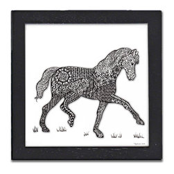 Horse Pen & Ink - Print of the original Horse pen and ink drawing by Pamela Corwin. The tiny intricate patterns in each of Pam's pen & inks create beautiful detailed graphic designs. Framed in a classic black frame and available in two sizes, this handsome print will fit in any room. They look great in sets of two or three.