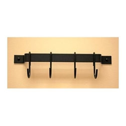 """Rogar - 12 in. Black Utensils Rack w Black Hooks (Ham - Color: Hammered Steel/ChromeHang two or three down a wall for maximum """"professional"""" style storage. Great for laundry, garage, and kid's rooms. Utensil racks perfect for smaller items like cups and kitchen tools.. Powder coated Steel in 12 in., 18 in., 24 in., 36 in. and 36 in. lengths. Includes : 4 Regular Hooks on 12 in. and 24 in. racks, 6 Regular Hooks on 18 in. rack, 8 Regular Hooks on 30 in. and 36 in. racks. Black Hooks. 12 in. L x 1 in. H (0.75 lbs.)"""