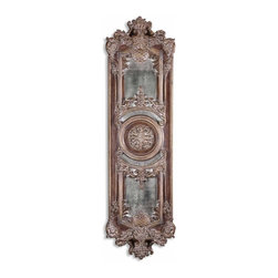 Uttermost - Domenica Distressed Chestnut Brown Unique Mirror - This decorative wall decor features heavily antiqued mirrors accented by ornate framing finished in lightly distressed chestnut brown with a heavy gray glaze.