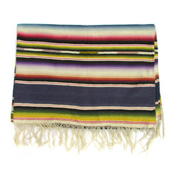 "Consigned Saltillo Serape w/ Royal Blue Bands - Pre-1960s Saltillo serape throw with solid royal blue bands alternating with classic ombrǸ stripes. Versatile weight lends itself to use as a tablecloth, bed-cover, or throw. No makers marks. 6""L fringe on each end."