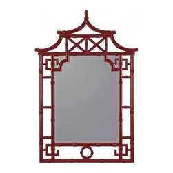 """Cooper Classics - Katelyn Black Unique Mirror - Glossy Red Finish Frame Dimensions: 28.25""""W X 42""""H X 1.5""""D; Mirror Dimensions: 17.5""""W X 24""""H; Finish: Glossy Red; Material: Polyurethane; Beveled: No; Shape: Unique; Weight: 16; Included: Brackets, Ready to Hang"""