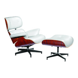 Fine Mod Imports - Eames Style Lounge Chair and Ottoman in Top Grain Italian Leather, White - Plywood frame; leather upholstery; foam padding; die-cast steel braces and stainless steel glides. 7-ply laminated veneer in cherry, walnut or Palisander. The seat, backrest shells and armrests joined via aluminum. Five-star swiveling base. Top grain Italian leather.