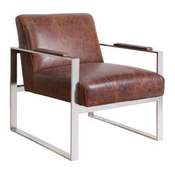 """Bungalow 5 - Bungalow 5 Lever Vintage Brown Lounge Chair - Pairing sleek chrome with the warm look of leather, the Lever lounge chair by Bungalow 5 is a chic addition to a living room. The chair's minimalist style showcases the clean lines of its mid-century modern inspiration. 24""""W x 29""""D x 28""""H. Chrome frame. Top grain leather upholstery in vintage brown."""
