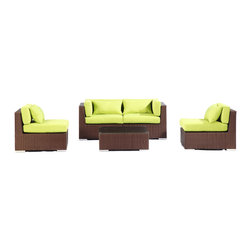 """Kardiel - Modify-It Patio Outdoor Furniture Loveseat/Sofa, Kauna 5pc Set Wicker Lime Green - Kauna offers comfortable lounging and classic modern outdoor styling. This 5-piece Modify-It layout features seating for 4, with a full size coffee table, in a space that is conducive to conversation. The flexible nature of Modify-It modular allows for customized reconfiguring of the layout at will.  The design origins are Clean European. The elements of comfort are inspired by the relaxed style of the Hawaiian Islands. The Aloha series comes in many configurations, but all feature a minimalist frame and thick, ample modern cube cushions. The back cushions are consistent in shape, not tapered in to create the lean back angle. Rather the frame itself is specifically """"lean tapered"""" allowing for a full cushion, thus a more comfortable lounging experience. The cushion stitch style utilizes smooth and clean hand tailoring, without extruding edge piping. The generously proportioned frame is hand-woven of colorfast, PE Resin wicker. The fabric is Season-Smart 100% Outdoor Polyester and resists mildew, fading and staining. The ability to modify configurations may tempt you to move the pieces around... a lot. No worries, Modify-It is manufactured with a strong but lightweight, rust proof Aluminum frame for easy handling."""