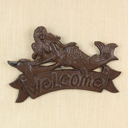 Young's - Cast Iron Mermaid 'Welcome' Sign - Make a splash welcoming guests with this striking iron mermaid sign.   9'' W x 6.25'' H x 0.5'' D Cast iron Imported