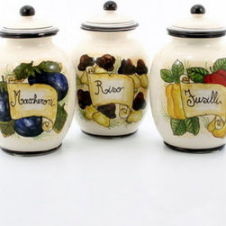 Artistica - Hand Made in Italy - Toscana: Pasta Canisters ''Riso'', ''Fusilli'', ''Maccheroni'' (Set of Three) - Toscana Collection: